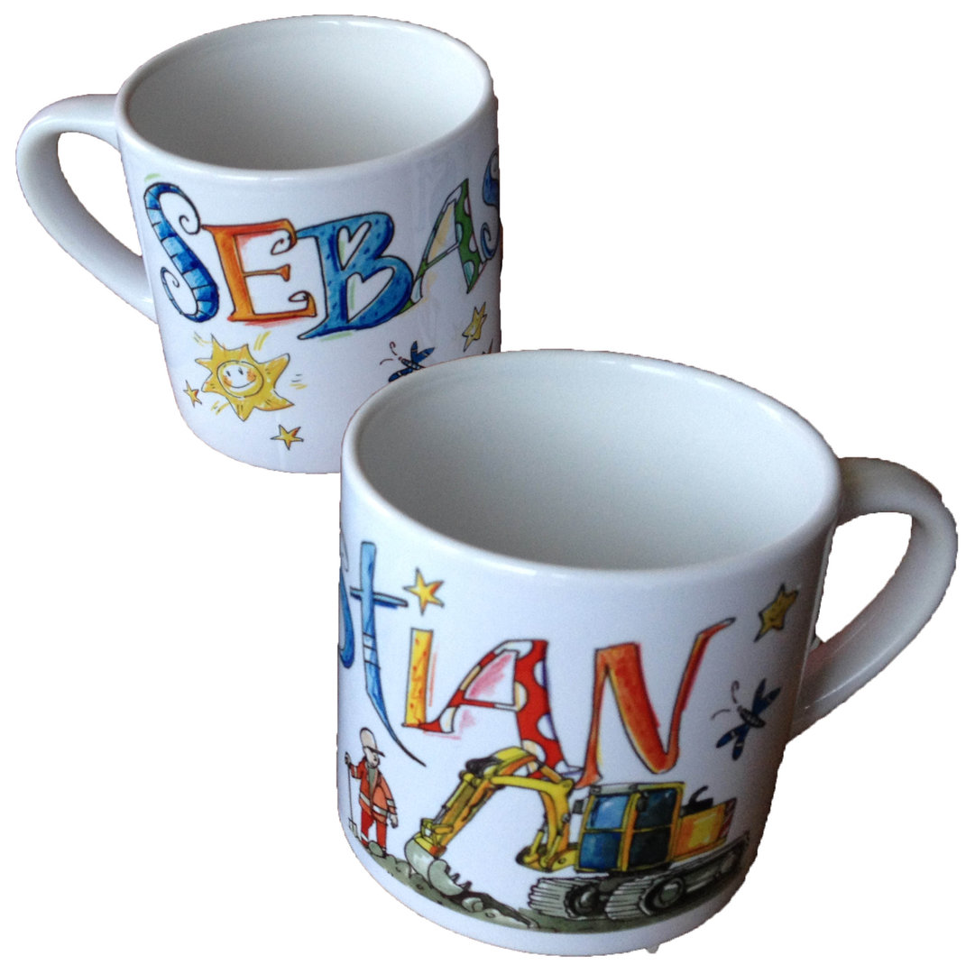 Kleine Kindertasse mit Namen, Motive